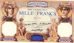 1000fr Ceres Et Mercure 23/10/1930 SUP - 1 000 F 1927-1940 ''Cérès E Mercure''