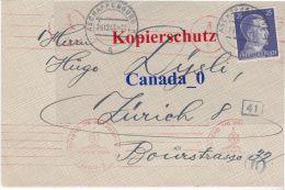 B   2  ---- Brief Von Aschaffenburg Nach Züric H  29.12.1943  Zensur Obekomm D.Wehrmacht  -A- - North German Conf.