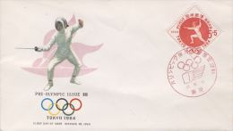 FDC Tokio 1964, Japan (Pre-olympic Issue 1962) - Fencing - Summer 1964: Tokyo