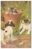 Chiens Autour D´un Chat Dans Pot De Fleur Illust. Cobbs (Oilette) - Gatti