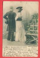 """136370 / 1904 POEM COUPLE Man Homme Mann BENCH HAT Woman Femme Frau -  K.V.i.B. DESS. 6 """" TAGE DER ROSEN"""" - Couples"""