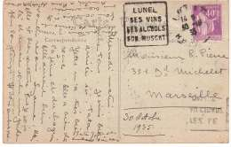 DAGUIN - LUNEL - MONTPELLIER - 1935. - Poststempel (Briefe)