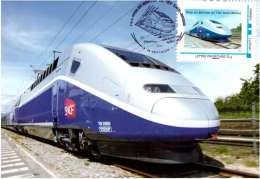 TRAIN . Carte Postale Tgv Besancon .11/12/ 2011 1ere Mise Service Du T G V Rhin-rhone Gare - Besancon
