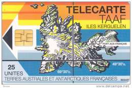 TAAF, TAF-02, Map Of Kerguelen Island, 2 Scans. - TAAF - French Southern And Antarctic Lands