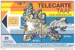 TAAF, TAF-02, Map Of Kerguelen Island, 2 Scans. - TAAF - Franse Zuidpoolgewesten