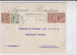 MONACO - 1921 - ENVELOPPE COMMERCIALE De MONTE CARLO Pour KREFELD (ALLEMAGNE) - Marcophilie