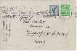 ALLEMAGNE - 1933 -  LETTRE DU WURTEMBERG A DESTINATION DE BURGDORF ( SUISSE ) - - Allemagne
