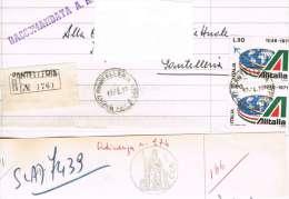 1236- Italia Storia Postale Pantelleria 13.4.73  Raccom. Su Carta Bollata  £. 500 Affr. 2 Valori X £. 90 ALITALIA - 1971-80: Marcophilie