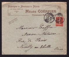 """Enveloppe à Entete Commerciale """" Fabrique Boutons MELIES COEFFIER """"  à FRESNEAUX MONTCHEVREUIL - OISE / Année 1910 - 1877-1920: Période Semi Moderne"""