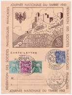 BESANCON .JOURNEE  NATIONALE  DU  TIMBRE  1943 Carte-lettre - Other