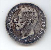 5 Pesetas 1882 Argent Alfonso XII - Other
