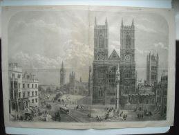 GRAVURE 1864. ANGLETERRE. LA PLACE DE WESTMINSTER, A LONDRES. - Prenten & Gravure