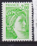FRANCE N° 1977  2F VERT JAUNE TYPE SABINE 2 BANDES DE PHOSPHORE A GAUCHE  NEUF SANS CHARNIERE - Kuriositäten: 1980-89 Ungebraucht