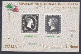 ITALIE BLOC FEUILLET 1985 EXPOSITION PHILATELIQUE Y&T 3 NSC - 6. 1946-.. Repubblica
