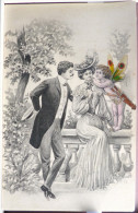 Litho Surrealisme Precurseur Illustrateur KRÄNZLE KRAENZLE Couple Elegant Flirt Enfant Ange Nu Ailes Papillon Carquois - Kraenzle