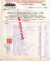 ROYAUME UNI - PAYS DE GALLES- CARDIFF- BELLE FACTURE PASCAL BERNASCONI -ATLANTIQUE JULIEN PRECIEUSE-1929 - United Kingdom