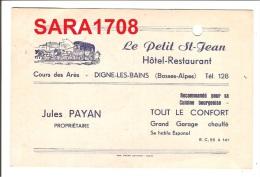 04 DIGNE, CP Publicitaire Hôtel Le Petit Saint Jean Et Une Note Année 1955. ( VOIR SCAN ). - Digne