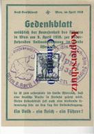 B  3  ---- Gedenkblatt Anwesenheit D. Führers In Wien    2  So-O  9. + 10. 4-1938 - Covers & Documents
