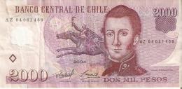 BILLETE DE CHILE DE 2000 PESOS DEL AÑO 2004 (BANK NOTE) - Chile