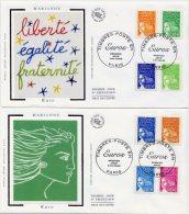 FDC - Marianne Luquet - Yvert 3443 à 3457 - Paris 1er Janvier 2002 - Cote 30 Euros - R386 - FDC