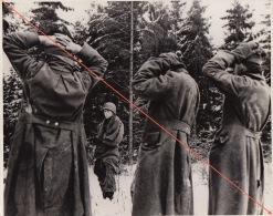 Grande Photo Guerre Offensive Des Ardennes WWII Prisonniers Nazis Guard Nazi Panzer - War, Military