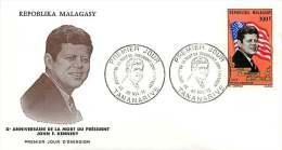 1973  John F. Kennedy  FDC Poste Aérienne - Madagascar (1960-...)