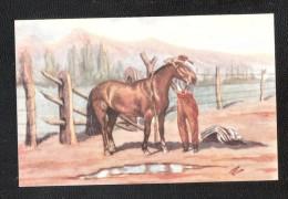 CHILE CHILE Chile Horse Art Drawn Prop Registrada Universo Fab Chilena Chilean HUASO AND HORSE - Chili