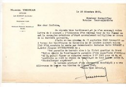 Marcel Thomas, Notaire, La Ciotat - 1950 - Manoscritti