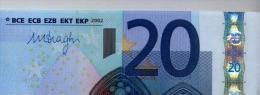 NUOVA SERIE NOTE BANCONOTA BILLET DA 20 EURO DRAGHI S ITALIA J033.. UNC LE PRIME DI DRAGHI - EURO