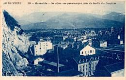 GRENOBLE  Les  Alpes Prise Du Jardin Des Dauphins   Carte En Bon état - Grenoble