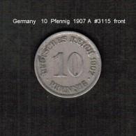 GERMANY     10  PFENNIG  1907 A  (KM # 12) - [ 2] 1871-1918 : German Empire