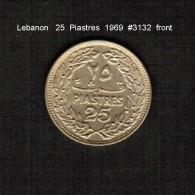 LEBANON     25  PIASTRES  1969  (KM # 27.1) - Lebanon