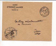 1953 CAD Manuel A7 De Isigny Sur Mer 14 En Franchise De La Mairie De ... - Marcophilie (Lettres)