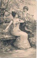 L30B - 79 - Jeune Femme Avec Un Bébé, Sur Un Banc , Joli Dessin - Women