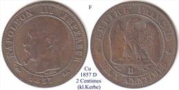 F-1857 D, 2 Centimes - Francia