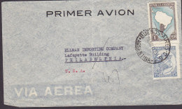 Argentina Via Aerea PRIMER AVION, BUENOS AIRES 1923 Cover Letra Lafayette Building PHILADELPHIA United States Map Bull - Luftpost