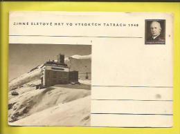 ENTIER POSTAL  NEUF Du PRESIDENT BENES  Jeux D´Hiver MONT TATRACH 15 Au 22 02 1948 Voir Scanners - Postal Stationery