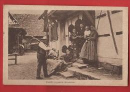 AF-013 Famille Paysanne Alsacienne, ANIME. Circulé. Cachet :  Souscrivez à L'Emprunt. - Farms