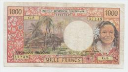 Tahiti PAPEETE 1000 Francs 1985 VF (tear) Banknote P 27d - Papeete (Polynésie Française 1914-1985)