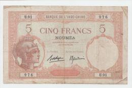 """New Caledonia Noumea 5 Francs 1926 """"F+"""" P 36b 36 B - Nouvelle-Calédonie 1873-1985"""