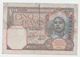 Tunisia 5 Francs 1941 VF P 8b 8 B - Tunisia