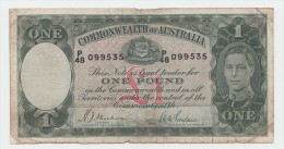 "Australia 1 Pound 1938 ""aF"" Rare Banknote P 26a 26 A - Pre-decimaal Stelsel Overheidsuitgave 1913-1965"