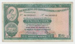 Hong Kong 10 Dollars 31-3- 1978 VF P 182h - Hong Kong