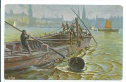 """CPA -BAGGERSCHUTE AUF DER ALSTER -Bateau, -Col. """"Marine Galerie"""" -Karte N° 274 - Boten"""