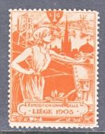 Belgium  EXPOSITION  UNIVERSELLE  LIEGE  1905   * - Commemorative Labels