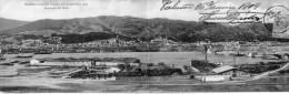 CARTE DOUBLE 28 CMS X 9 CMS. - . MESSINA PRIMA DEL DISASTRO DEL 28 DECEMBRE 1908. PANORAMA DAL MOLO - Messina