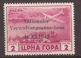 1943 GERMANIA DEUTSCHE BESETZUNG MONTENEGRO CRNA GORA FLUGPOST NAZIONALER  VERWALTUNGSAUSSCHUSS MNH - Occupation 1938-45