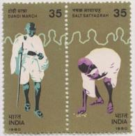 India MNH 1980, Se-tenent Pair Mahatma Gandhi, Dandi March - India