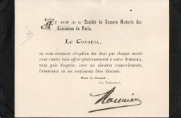 SOCIETE DE SECOURS MUTUELS DES CUISINIERS DE PARIS Carton Taille 10,5x13,5 - Syndicats