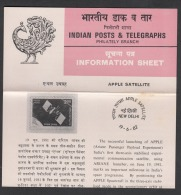 INDIA,1982, Ariana Passenger Payload, Experimental, (APPLE), Satellite, First Anniversary, Folder - FDC